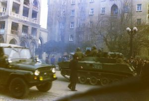 Soviet tanks on the streets of Baku, January 1990.