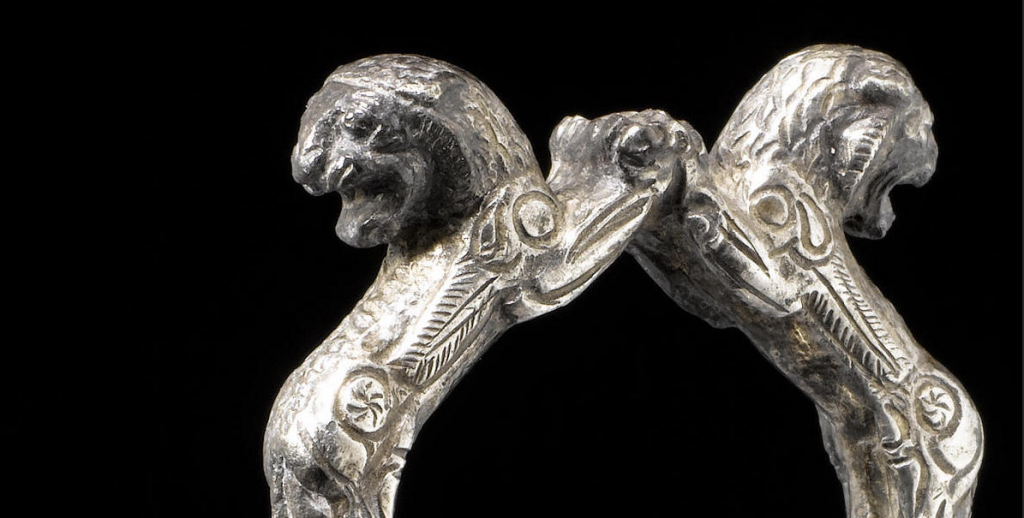 Detail of Lydian Kyathos, c. 550-450 BC, silver cast and engraved, h. 23.5 cm, private collection.