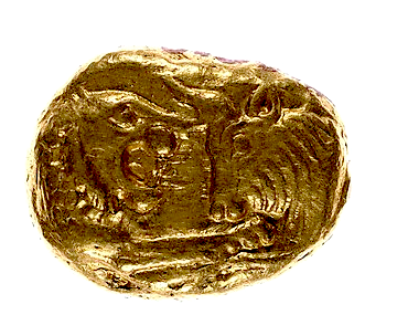 Lydian Staters of Croesus, c. 560-546 BC, gold coin, h. 1.2 cm, w. 1.5 cm, Metropolitan Museum of Art 26.59.4.