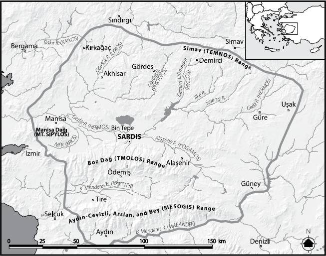 "Map showing the approximate borders of the ancient kingdom of Lydia in Western Anatolia. From ""Looting Lydia"" (2008) by Christopher H. Roosevelt and Christina Luke."