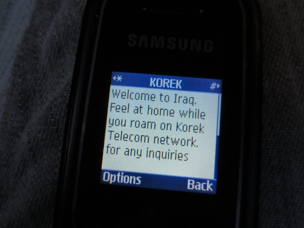 Our Irancell mobile phones automatically received this text message when we neared the Iran-Iraq border, meaning we were so close to Iraq that we had begun to use their telephone network!