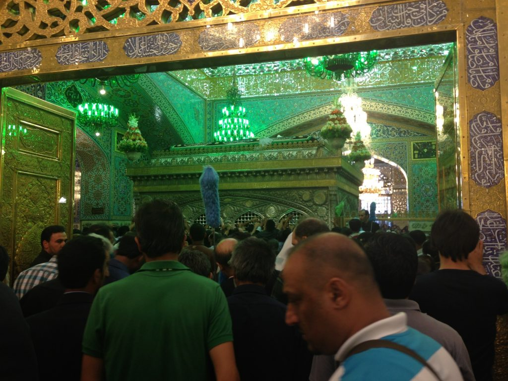 The tomb of Imam Reza with the current sanduq located above the grave