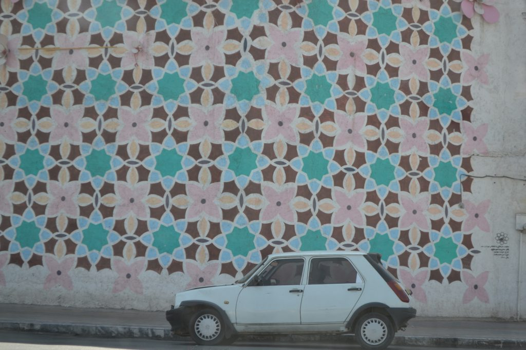 geometric patterns decorating a wall in Mashhad