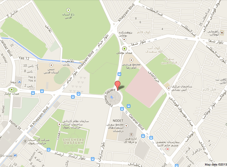 A map of the area around Ferdowsi Square, the green areas to the northwest and east are the property of Astan-e Qods.