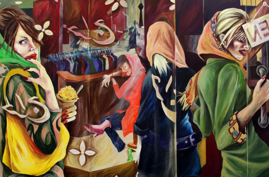 """Tehran Shopping Malls"" by Saghar Daeeri 100 x 150 cm Acrylic on canvas, 2008"