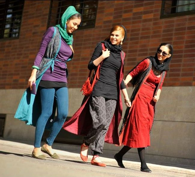 An example of images of young, skinny, urban women sporting the latest fashion trends. Originally part of a photo-shoot for an Iranian fashion line, Poosh.