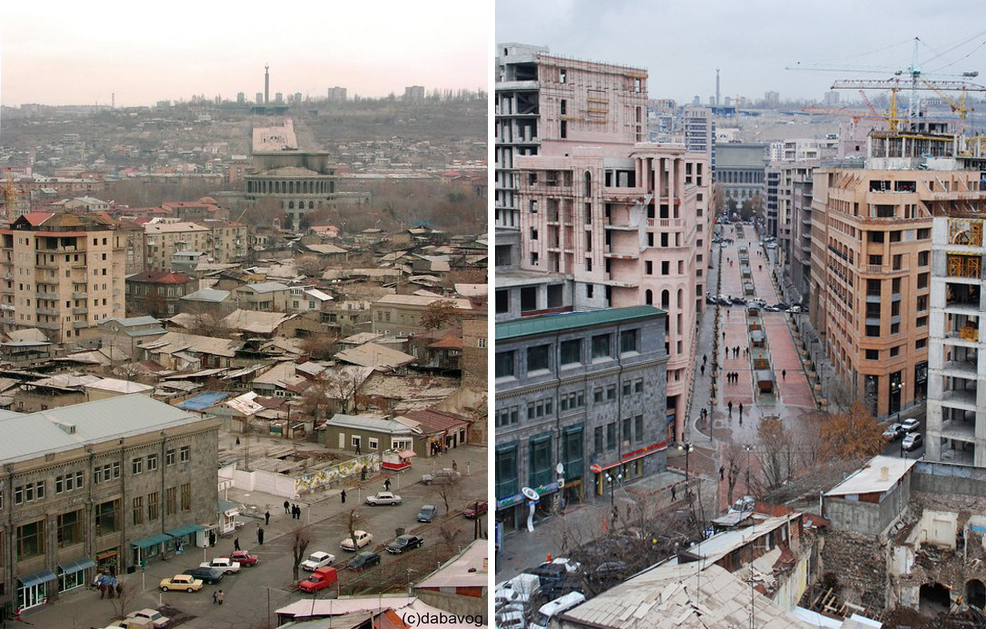 Left image:View of the low income housing prior to their demolition. Tamanian's Opera house and the Mother Armenia statue are visible in foreground. Image credit: HovoYerevan Right image: Same view in 2013 after the opening of Northern Avenue. Image credit: Hayk Bianjyan