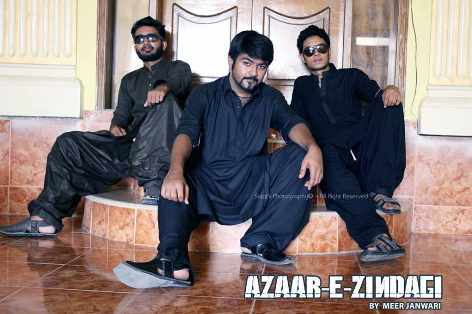 Rapper Meer Janweri (far left) with his crew