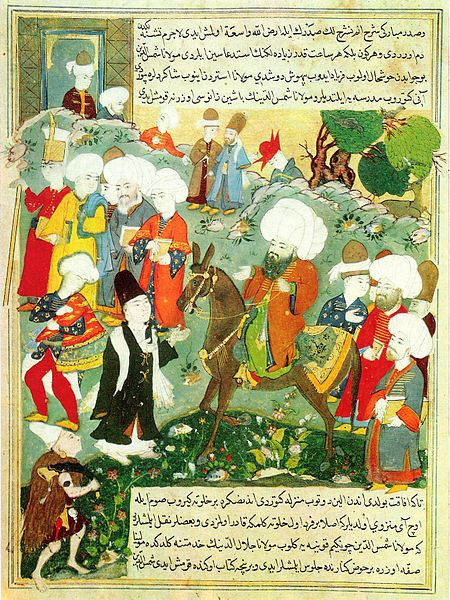 The meeting of Rumi and Shams, as depicted in an Ottoman miniature from 1600.